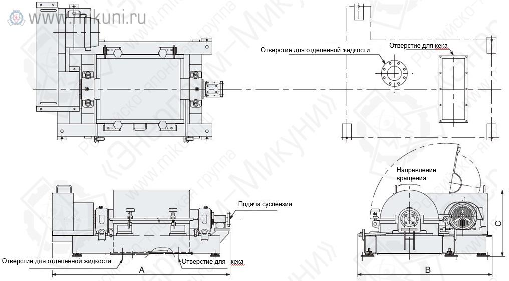 Схема внешнего вида декантерных центрифуг IHI моделей HS-204L, HS-205L, HS-255L