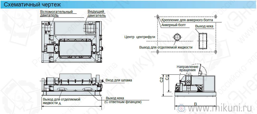 Схематичный чертеж износостойкого винтового декантера для интенсивной очистки илистого или мутного осадка